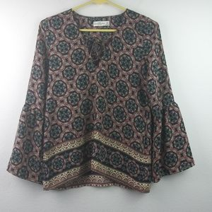 Abercrombie and Fitch Peasant Boho lace up Blouse